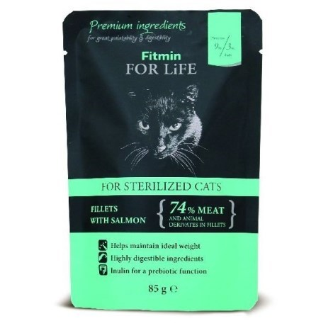 Kapsička kočka Fitmin For Life Sterilised salmon 85g